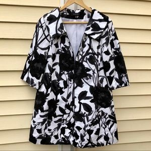 Nine West Black and White Floral Watercolor Jacket